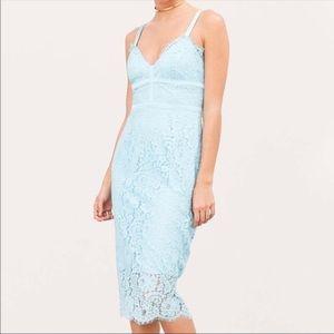 Keepsake Interlude Caged Blue Lace Midi Dress